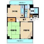三鷹駅徒歩15分の2DK賃貸マンション(間取図)