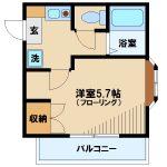 三鷹駅徒歩8分、武蔵野市中町2丁目のバストイレ別賃貸1Kコーポ(間取)