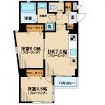 三鷹駅徒歩7分、オートロック・宅配ボックス付2DK賃貸マンション(間取)