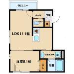 武蔵野市西久保3丁目の1LDK賃貸マンション(間取)