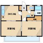 三鷹市上連雀4丁目の2DK賃貸コーポ・最上階・南向き(間取)