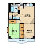 三鷹市上連雀8丁目のオートロック・EV付2LDK賃貸マンション(間取図)