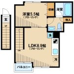 三鷹市下連雀3丁目のオートロック,TVモニターホン付1LDKデザインアパート(間取)