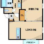 三鷹市大沢2丁目の2008年完成の1LDK賃貸コーポ・最上階角部屋(間取)