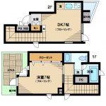 【ゆめハウス】三鷹市下連雀2丁目のメゾネット型RC造1DK賃貸マンション(間取)