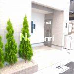 2015年完成、三鷹駅徒歩7分・三鷹市上連雀3丁目のデザインアパート(エントランスの写真)