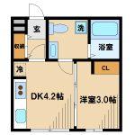 2015年完成、三鷹駅徒歩7分・三鷹市上連雀3丁目のデザインアパート(間取)