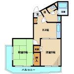 三鷹駅徒歩7分、武蔵野市吉祥寺本町3丁目の2DK賃貸マンション(間取)