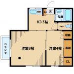 三鷹駅徒歩7分、2018年6月内装リフォームの賃貸2Kアパート(間取)