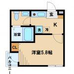 2016年完成、三鷹市下連雀2丁目のオートロック付バストイレ独立1Kマンション(間取図)