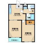 三鷹市上連雀4丁目のオートロック・エレベーター付2DK賃貸マンション(間取)