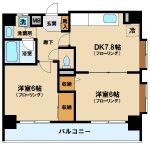 三鷹駅徒歩8分、オートロック・エレベーター付き2DK賃貸マンション(間取)