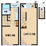 三鷹市下連雀3丁目の1LDK賃貸デザインアパート「グランエッグス三鷹」(間取)