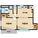 三鷹駅バス10分、三鷹市上連雀9丁目の2DK賃貸 全室洋室ヽ(^o^)丿(間取)