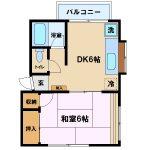 三鷹駅徒歩7分、三鷹市上連雀3丁目のバストイレ独立1DK賃貸コーポ・2階角部屋(間取図)