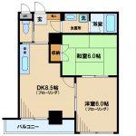 三鷹駅徒歩12分・武蔵野市西久保2丁目の2DK賃貸マンション(間取)