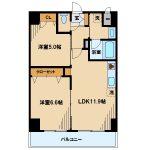 2014年完成、三鷹市野崎2丁目のオートロック・エレベーター付2LDK賃貸マンション(間取)