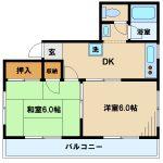 武蔵野市中町2丁目の2DK賃貸マンション(間取図)