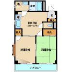 三鷹市下連雀7丁目の室内リノベーション済み2DKマンション【コーポ紫苑】(間取図)